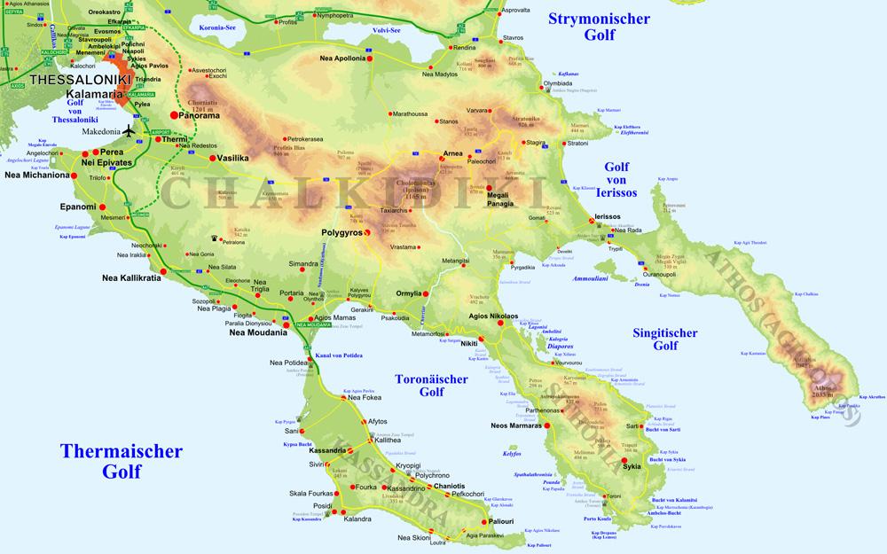 sithonia griechenland karte Chalkidiki Sithonia Griechenland   die Region und das Hotel
