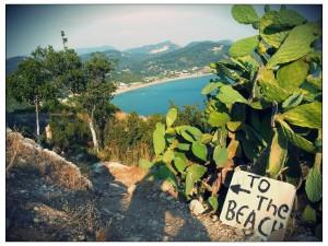 Blick vom Bergdorf Afionas auf Agios Georgios