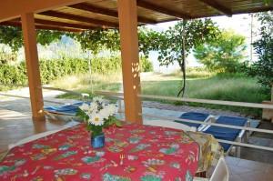 Terrasse und Gartenbereich mit Grill im Ferienhaus Eleni